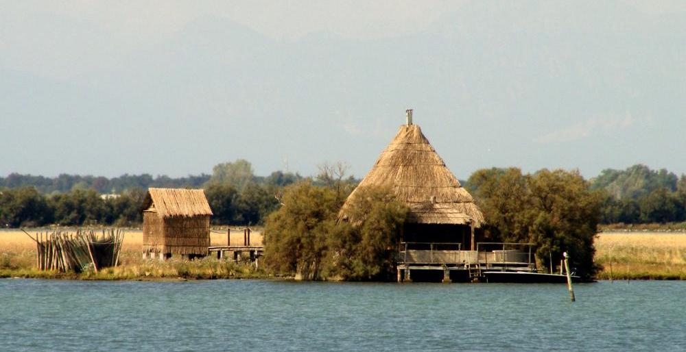 huts in the lagoon of Marano