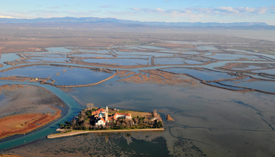 Lagoon of Grado aerial view with drone