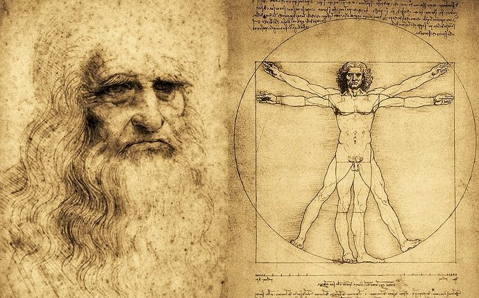 Leonardo da Vinci autoritratto e uomo vitruviano