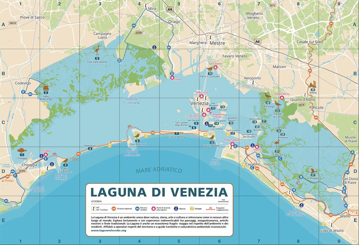 Mappa laguna di venezia pista ciclabile anteprima